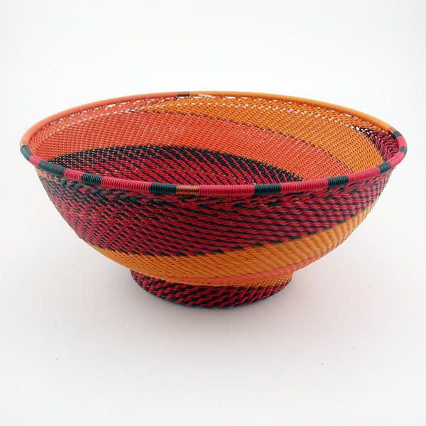 South African Baskets: 'African Fire'. Telephone Wire Basket
