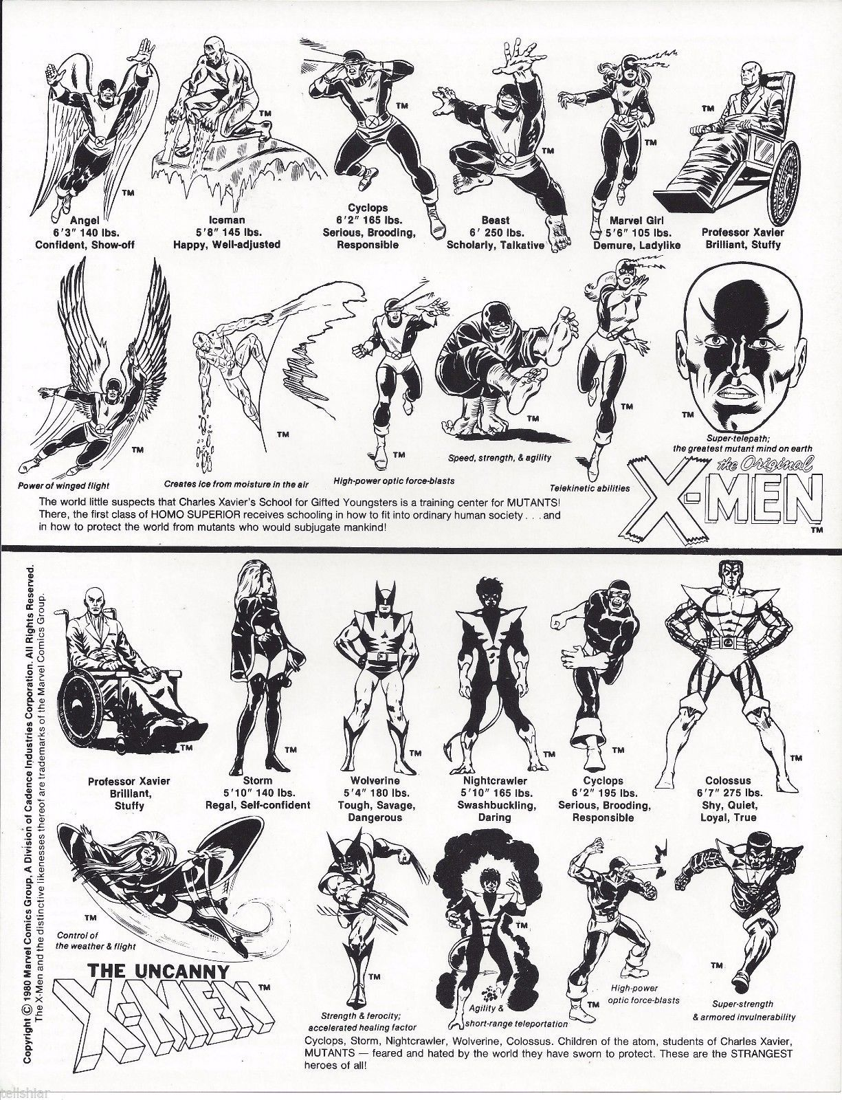 X Men Character Sheet And Color Guide 1980 And A Mildly Amused Wolverine Marvel Comics Illustrations And Posters Man Thing Marvel Comic Books Art