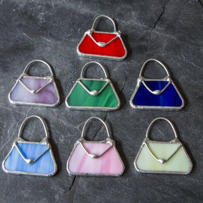 Brooch Vintage Style Stained Glass Handbag
