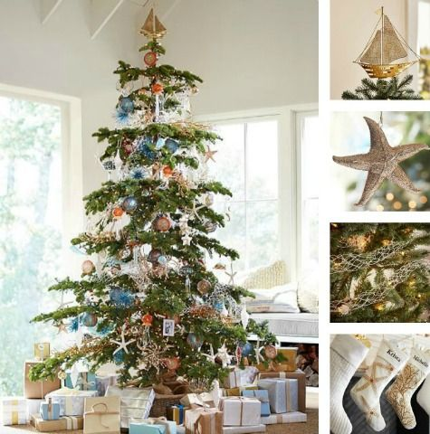 nautical christmas tree with sailboat topper: http://www
