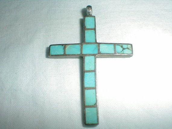 sterling silver sleeping beauty turquoise cross pendant