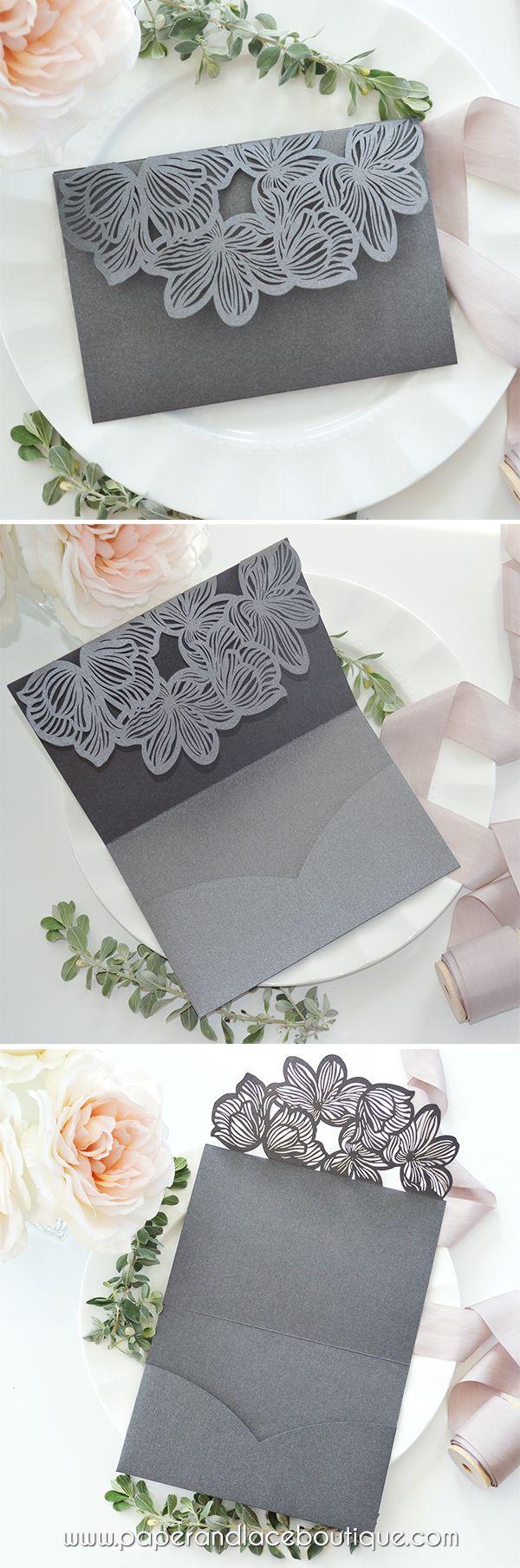 Diy laser cut flower trifold pocket invitation laser cut wedding