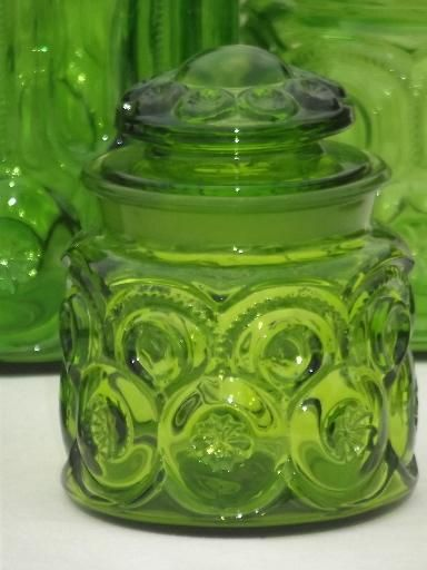 Nice Green Glass Moon U0026 Stars Pattern Kitchen Canisters, Vintage Canister Set