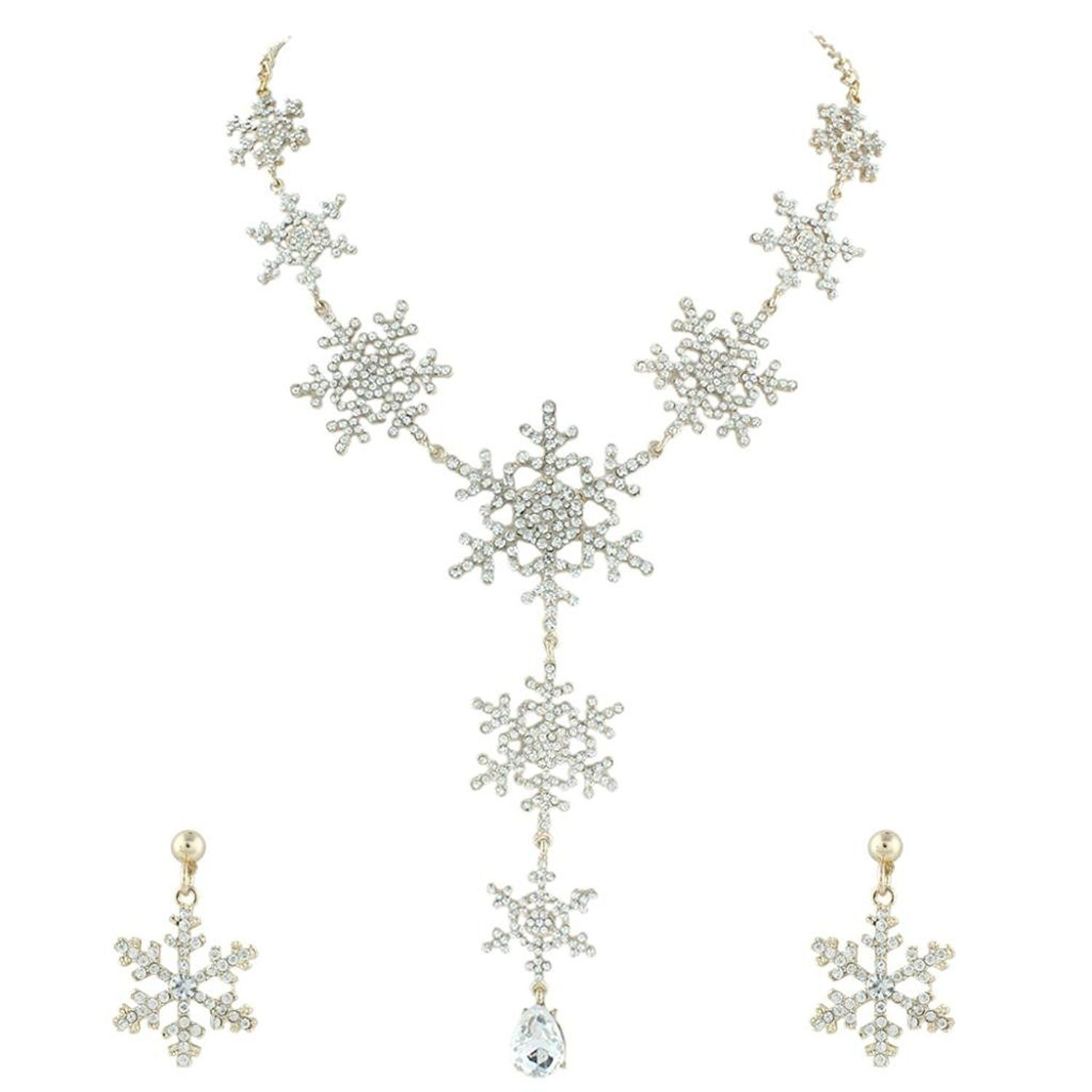 EVER FAITH Austrian Crystal Snowflake Wedding Jewellery Set Clear