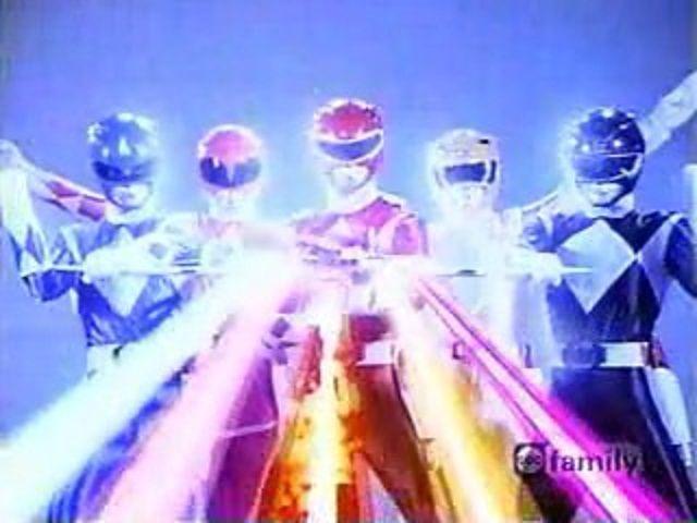 Rangers using the Power Blaster