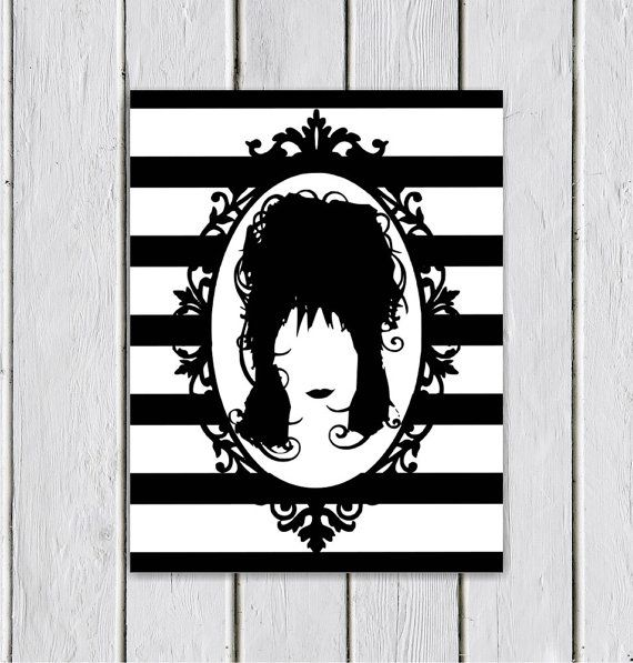 Lydia From Beetlejuice Silhouette Art Print Typography Art Print Chalkboard Art Disney Wall Decor Wall H Typography Art Print Horror Crafts Silhouette Art