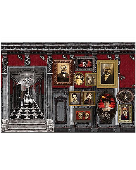 Gothic Mansion Wall Décor - Decorations - Spirithalloween - halloween scene setters decorations