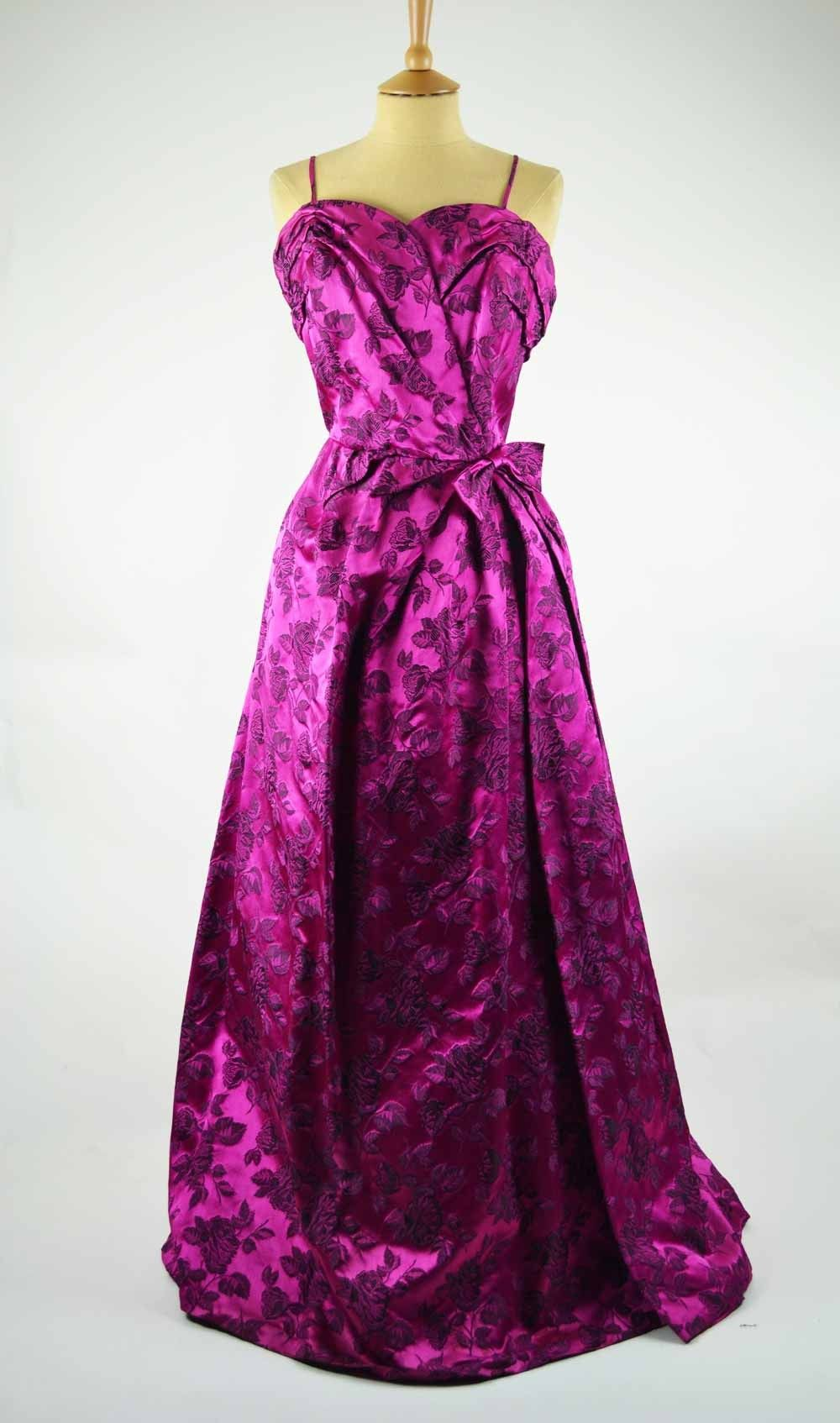 1950s Vintage Evening Gown Peter Robinson Cerise Satin Brocade ...