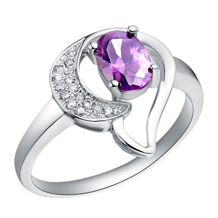 925 Silver Crystal Ring Ladies Purple Unique Design Zircon Ring Fashion Bling Charm Bridal Jewelry from Orient_mant