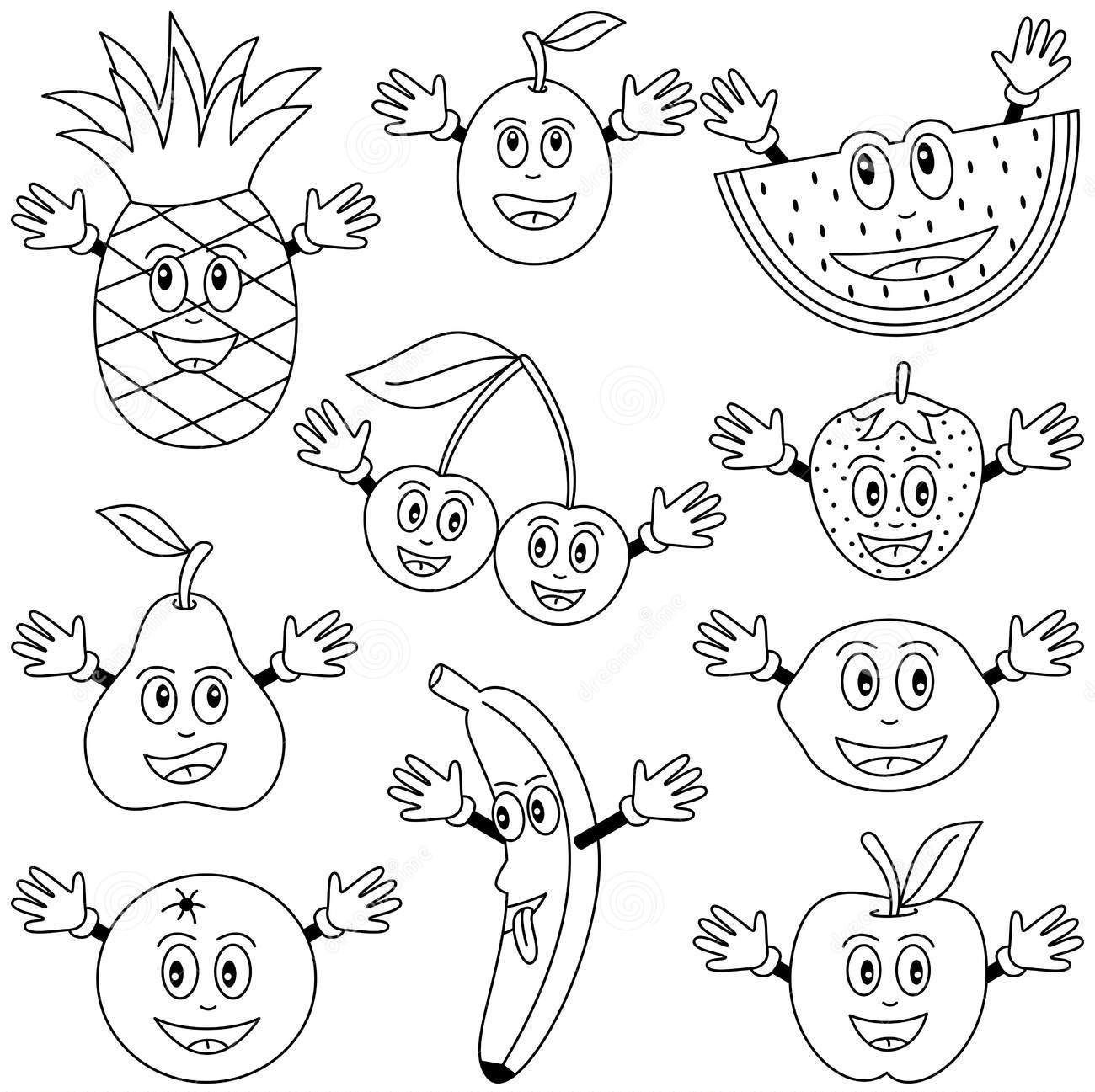 Preschool counting fruits worksheet printable - Cartoon Fruits Coloring Pages