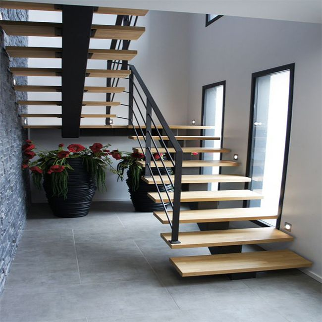 L-shaped Solid Wood Staircase Stairs Designs Indoor Wooden