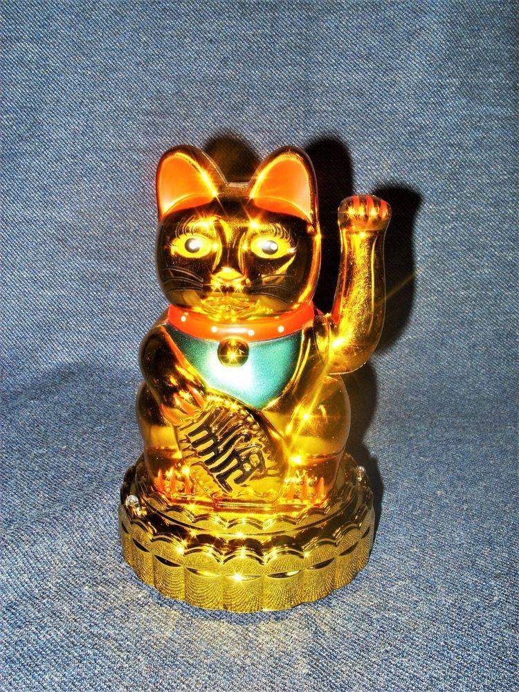 """Golden Maneki Neko 7"""" Chinese Lucky Cat Feng Shui Fortune"""