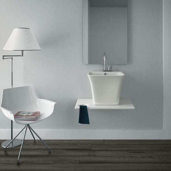 lavabo design demi colonne suspendu ou poser sur plan de toilette 45x45 cm en - Colonne Suspendu Salle De Bains