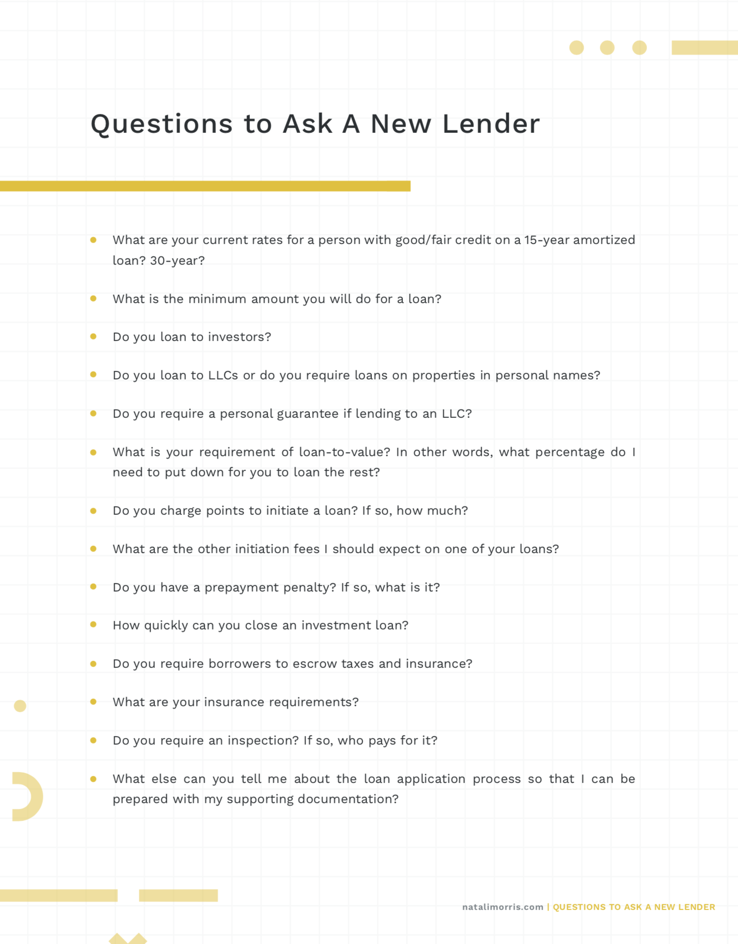 Question To Ask A New Lender Natali Morris This Or That Questions Mortgage Approval Mortgage Tips