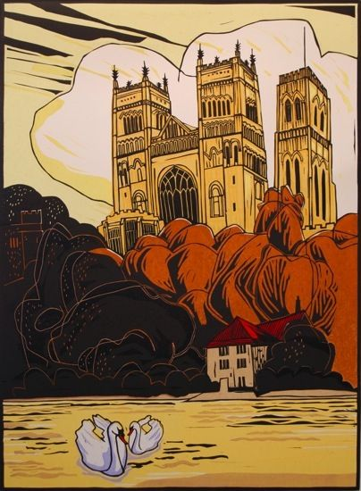 Durham Cathedral By Colin Moore 3 Block Lino Print Edition Of 100