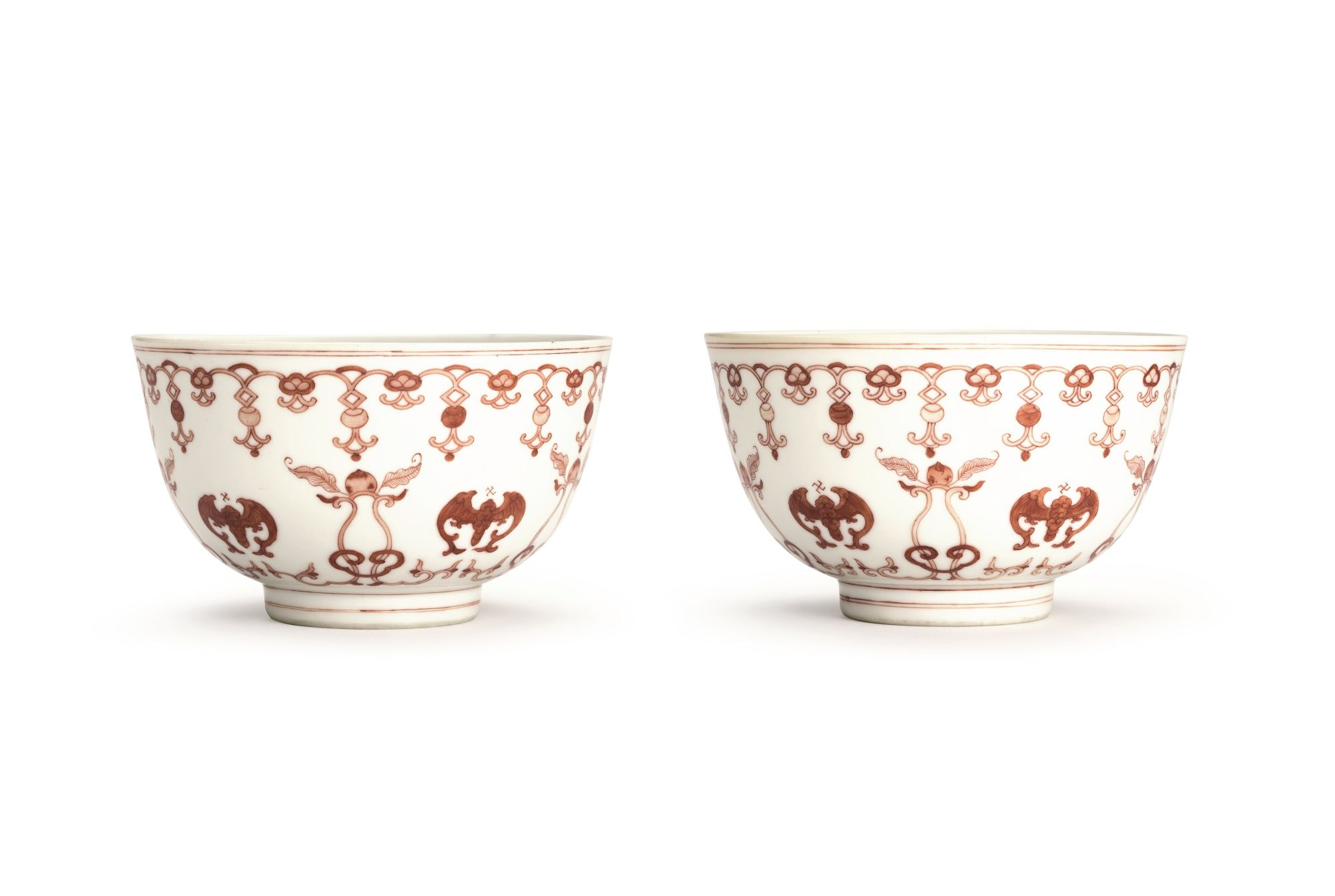 A Pair Of Iron Red Decorated Peach And Bat Bowls Br Seal Marks And Period Of Daoguang Lot Sotheby S Iron Red Chinese Pottery Porcelain Ceramics