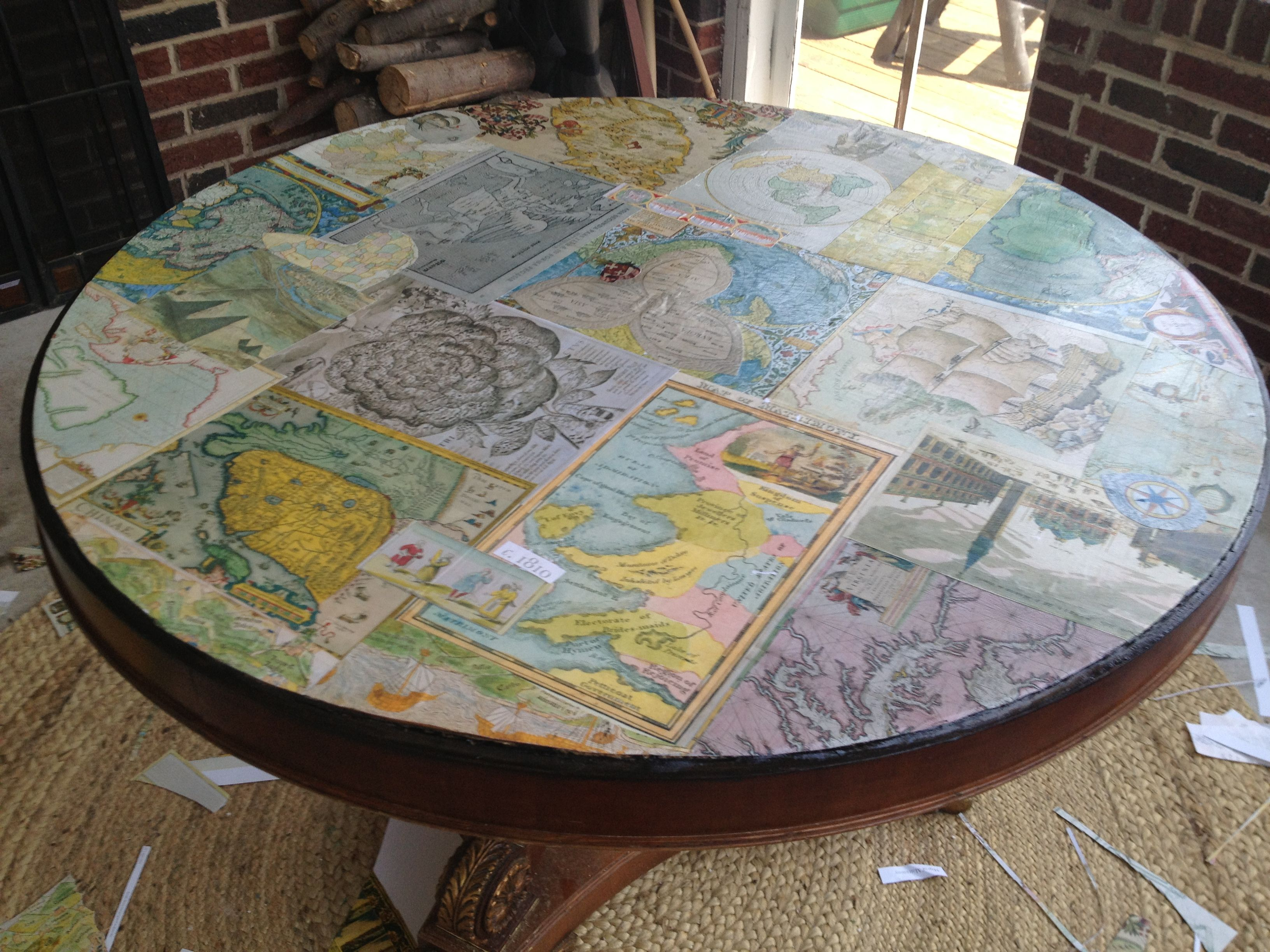 Mod Podge Map Table crafty Pinterest Crafty Auction ideas