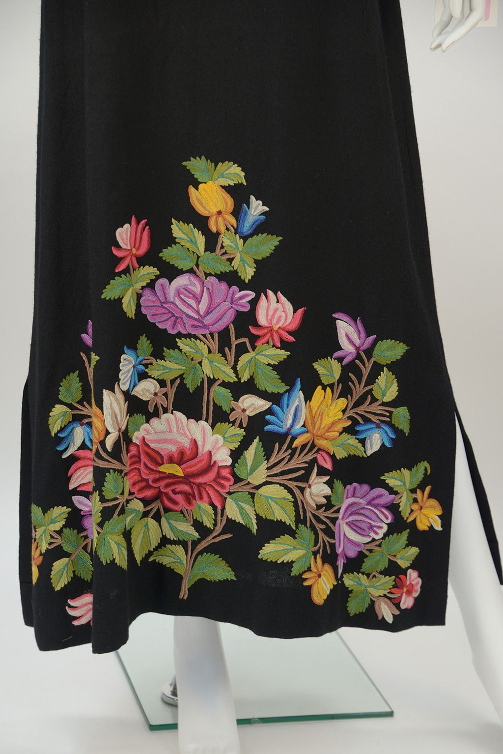 1950's Black Crewel Embroidered Dress | From a collection of rare vintage evening dresses at https://www.1stdibs.com/fashion/clothing/evening-dresses/