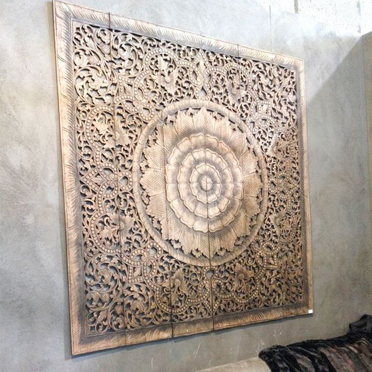 Mandala Carved Wood Wall Art Panel Carved Wood Wall Art Wooden