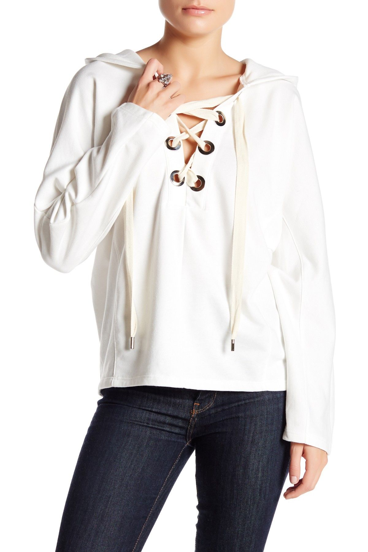 Lace-Up Hoodie Pullover by Leibl '38 on @nordstrom_rack