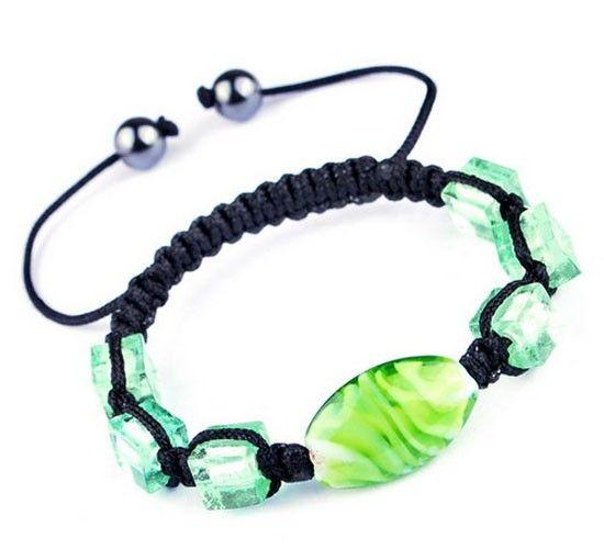 $1.99  45mm Green Nylon Lampwork Hematite Bracelets Jewelry Gift
