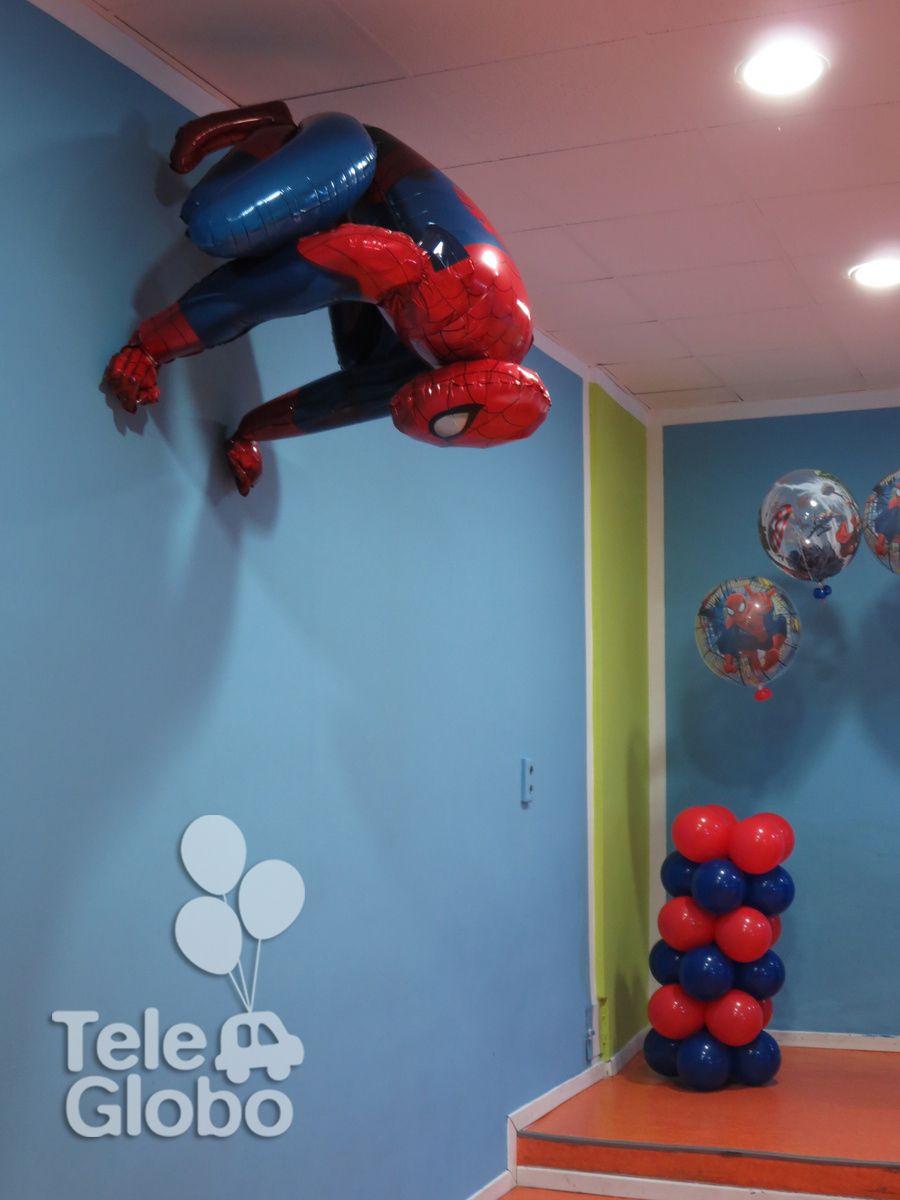 decoracin con globos para cumpleaos con temtica superheroes