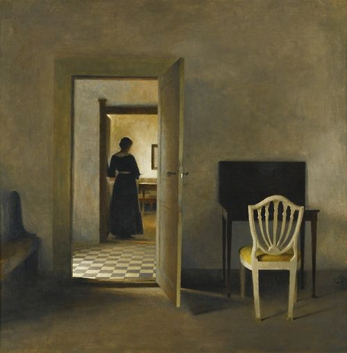 Peder Ilsted (Danish, 1861-133), Interior with White Chair, 1907. Oil on canvas, 54 x 53 cm.