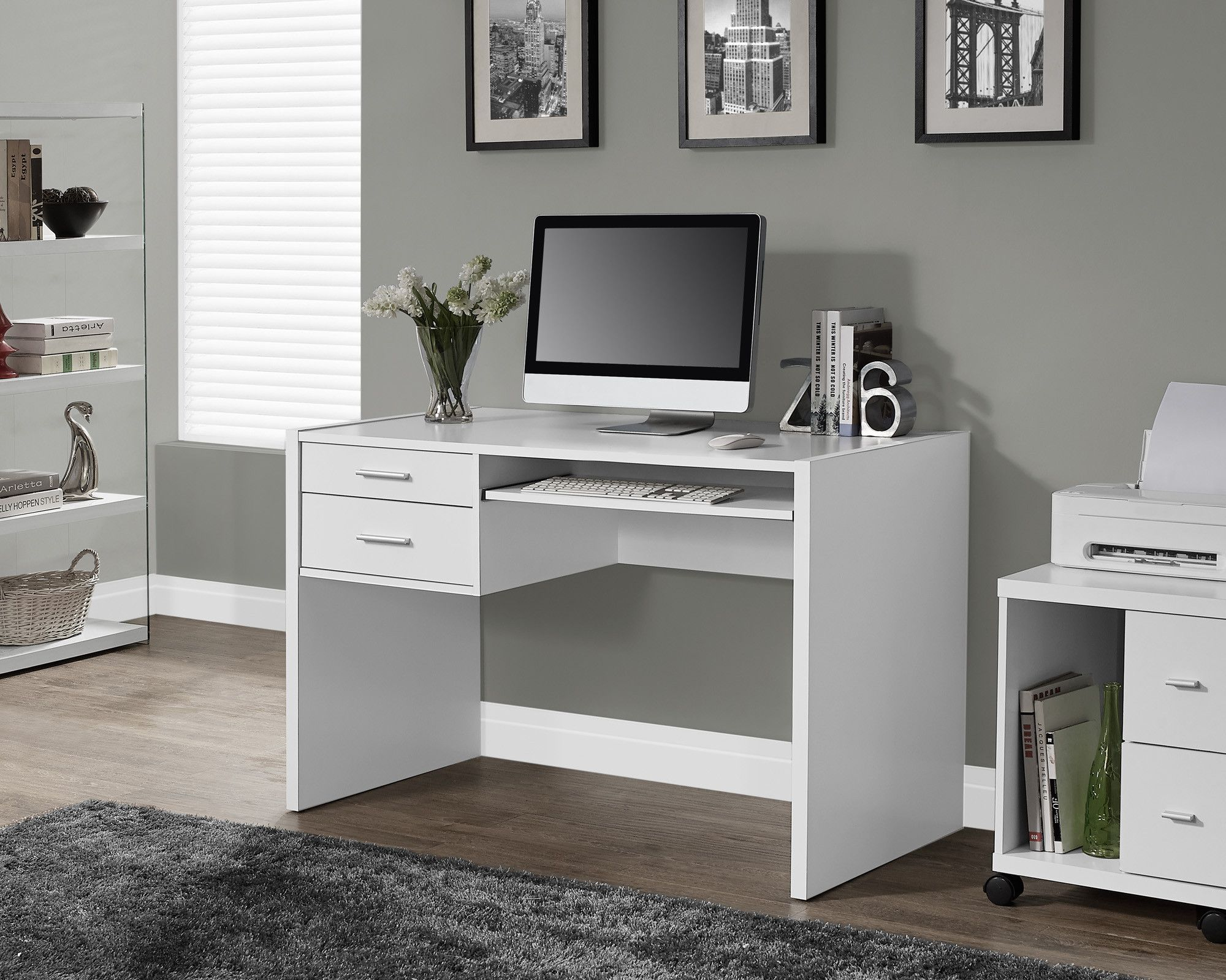 "48"" Compact Modern Office Desk in White White desk with"