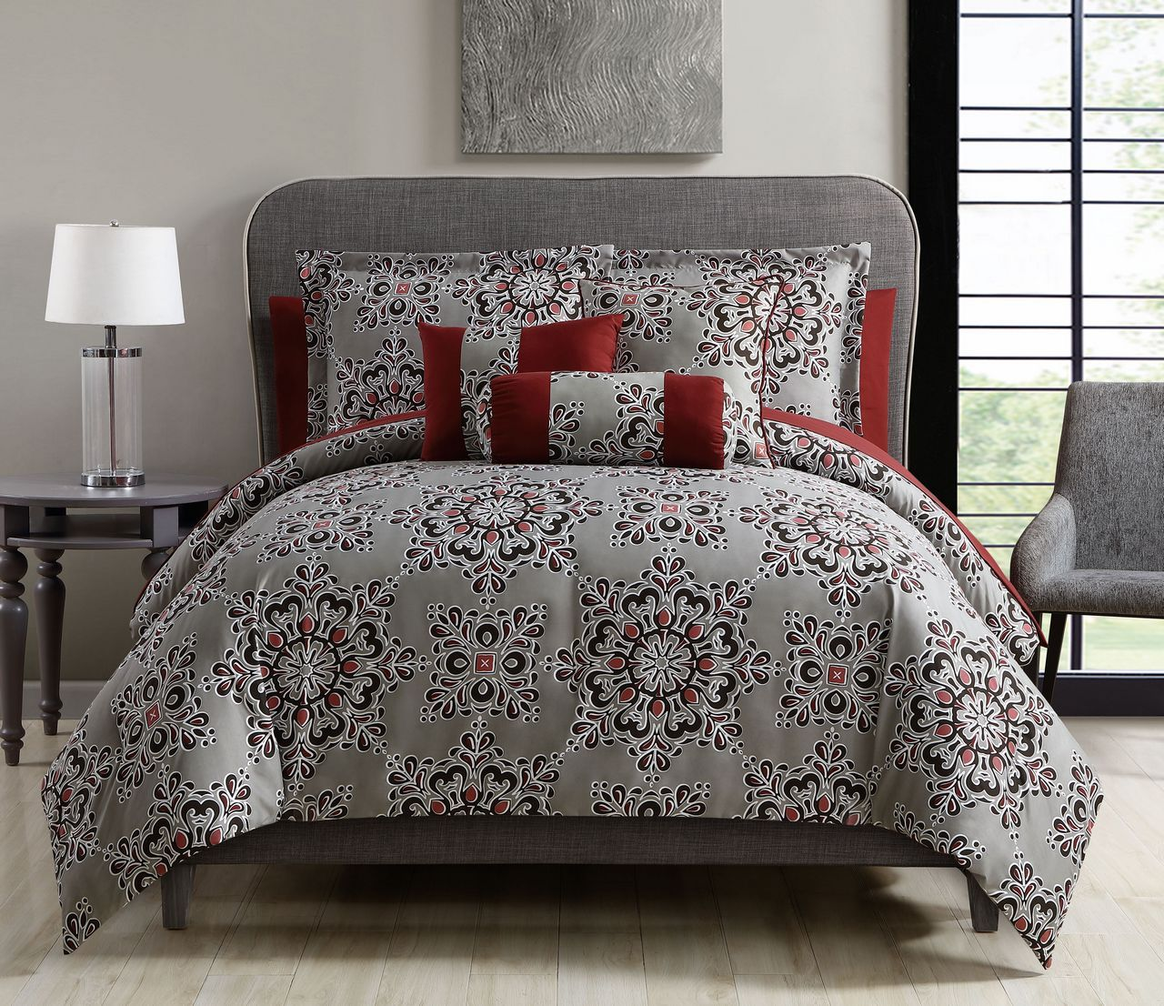 10 Piece Karla Taupe Red Bed In A Bag Set House Stuff Comforters