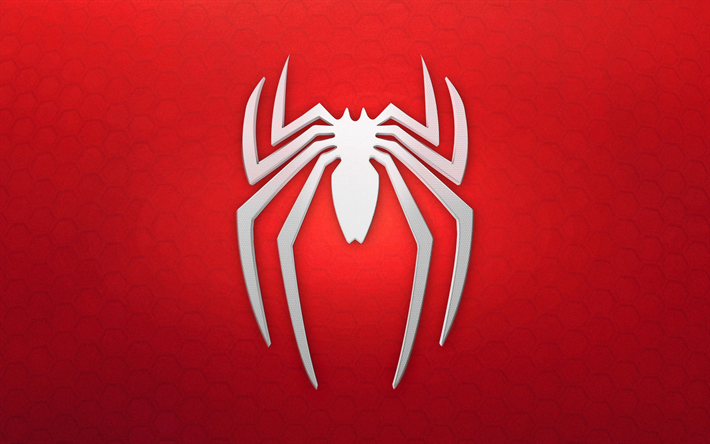 Download Wallpapers Spiderman Logo 4k Red Background