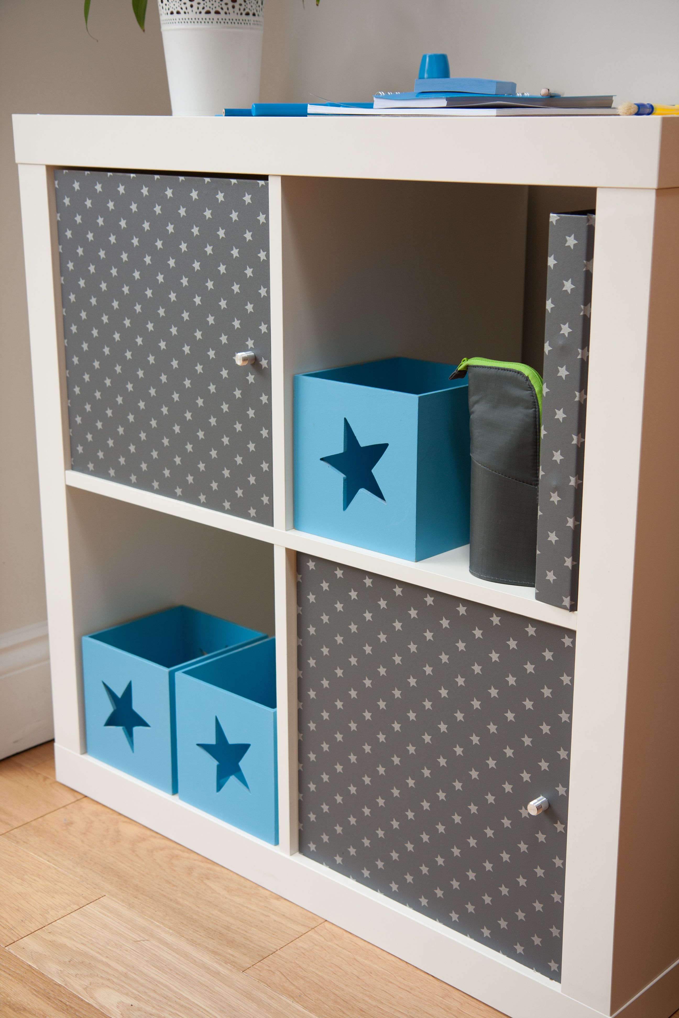 d-c-fix® grey stars has transformed this plain white Ikea unit. http ...