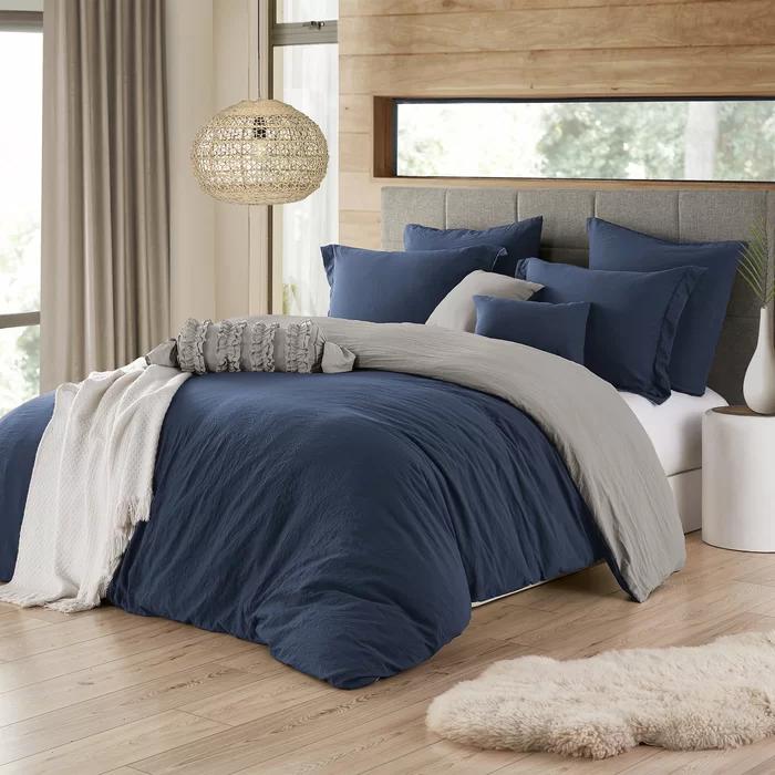 Wyndham Crinkle Reversible Duvet Cover Set In 2021 Blue Bedroom Decor Blue Duvet Duvet Cover Sets