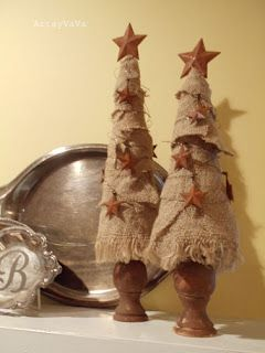 Burlap Christmas Trees...burlap is very trendy this year!