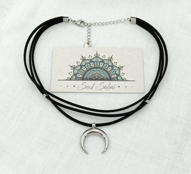 beaded chain choker Half moon necklace moon choker