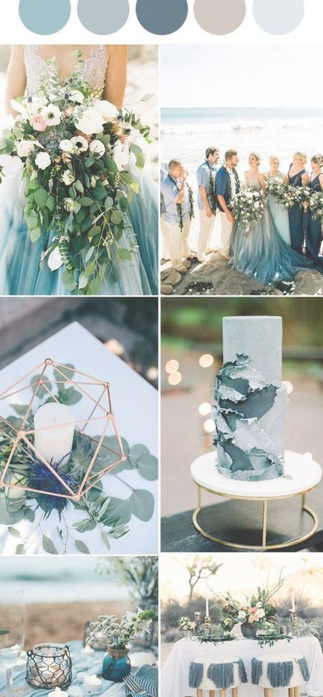dusty blue and grey wedding color palettes, charming