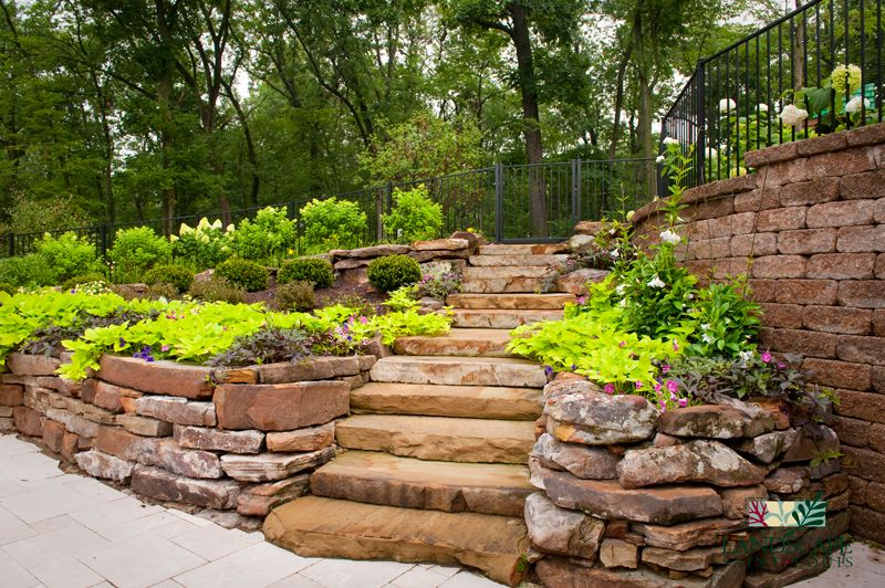 Natural Stone Steps With Retaining Wall And Greenery Landscape St Louis Backyard Landscaping Landscape Design Pathway Landscaping