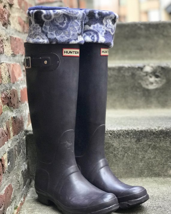 5d617cceb336d SLUGS Fleece Rain Boot Liners in Navy with a Dark Paisley Cuff ...