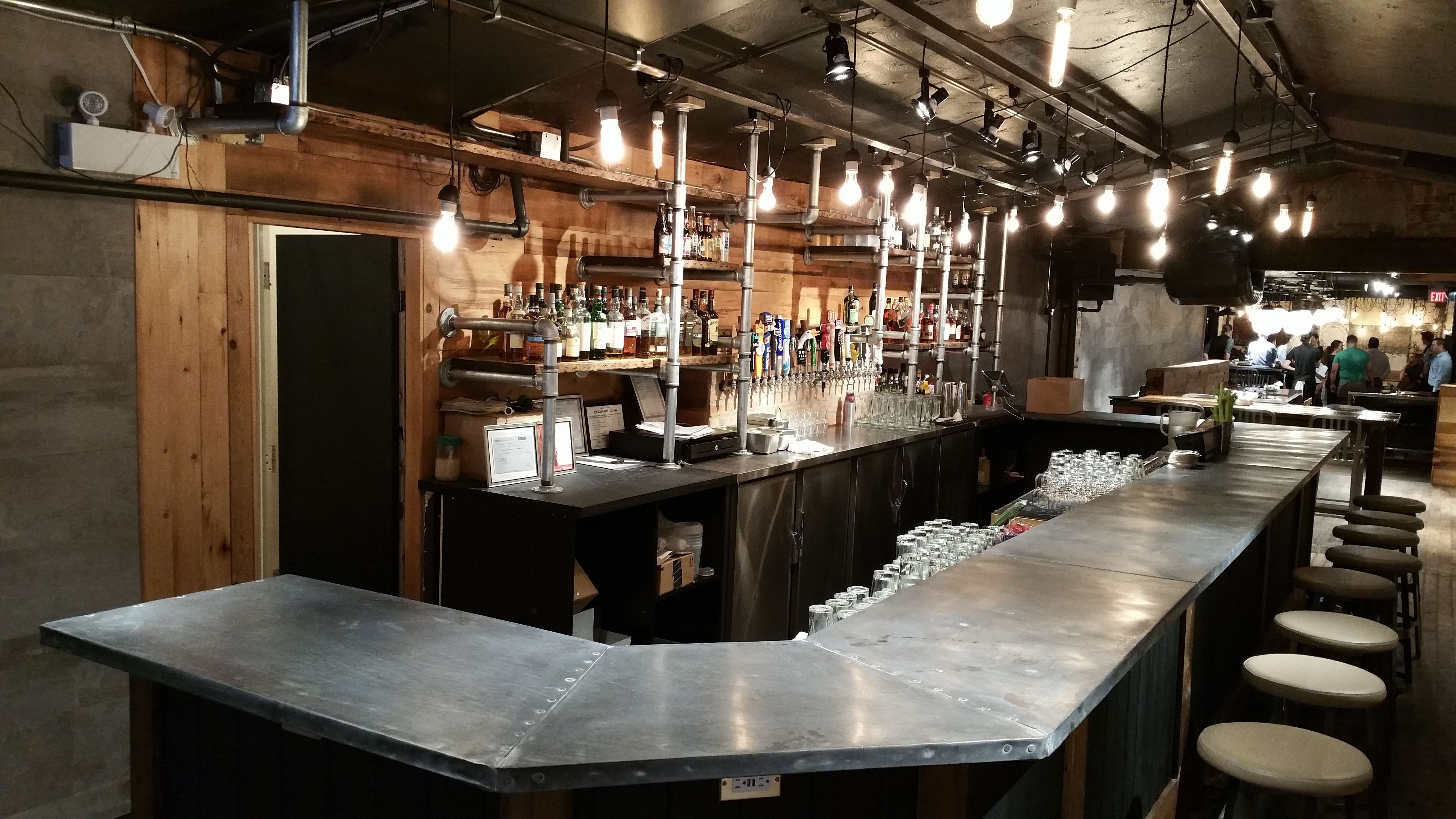 Zinc Bar Top With Galvanized Pipe Shelves