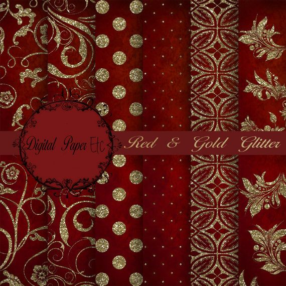 red digital paper red and gold glitter paper by digitalpaperetc