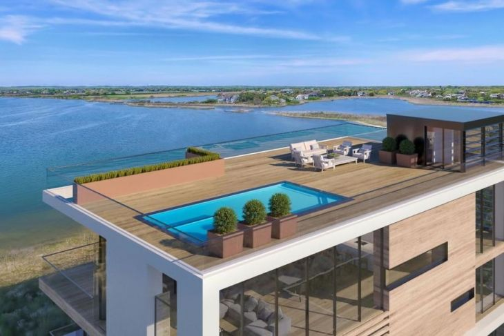 Newly Built Hamptons Modern Seeks First Owner For 30m Cottages Gardens Rooftop Design Rooftop Terrace Design Pool Designs