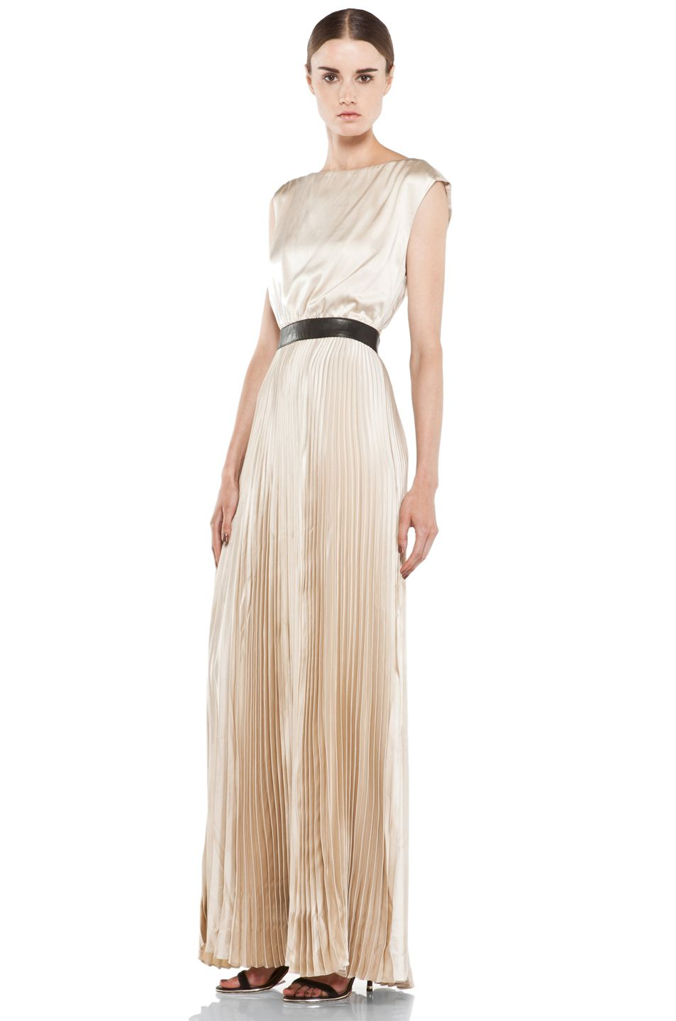 Triss pleated long maxi dress in nude alice olivia wedding