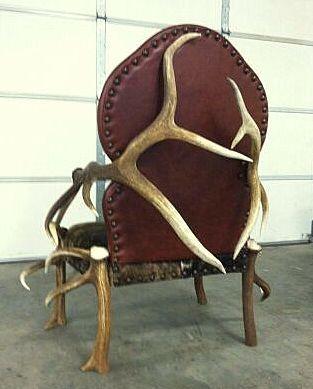 Custom Made Elk Antler, Leather, and Bull Hide Chair @antlerartmt