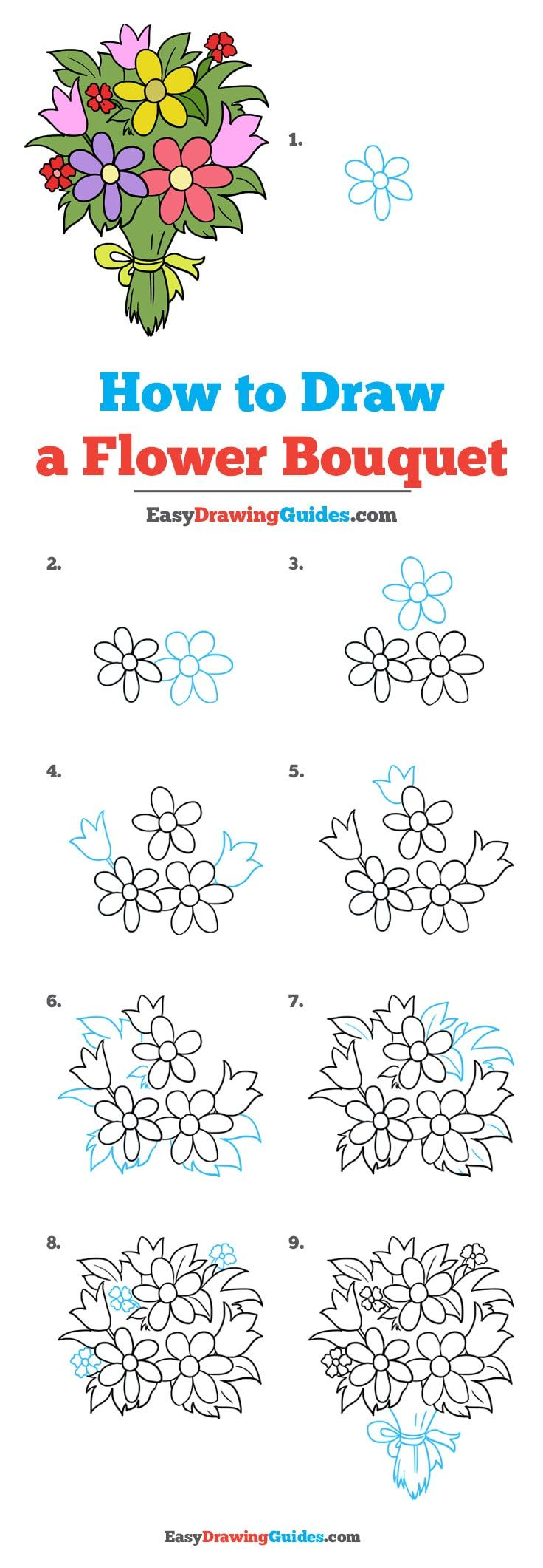 How to Draw a Flower Bouquet   Flower drawing tutorials, Easy ...