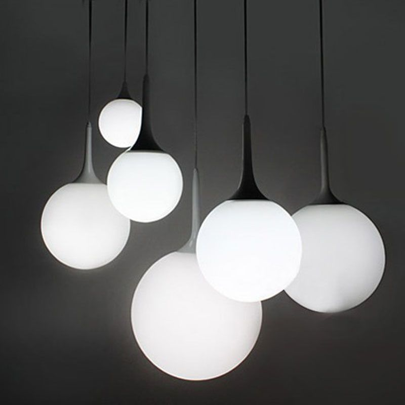 Moderna leche globo de cristal sombra luces colgantes para for Luces colgantes para comedor