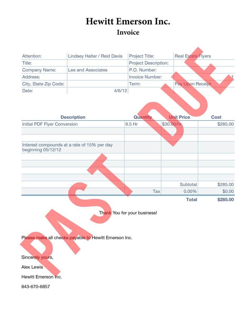 Past Due Bill Template Bill Template Invoice Template Collection Letter