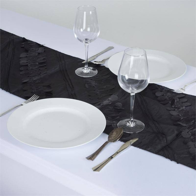 Paradise Forest Taffeta Table Runners - Black |  Nature, with all its serenity and comeliness has a tranquil effect on and mesmeric inspiration for monotony-stricken people. We experience soothing peace and calmness when in the company of Mother Nature. If you desire to spend your festive moments in coordination with the natural atmosphere and background, then we have just the thing for your quest. Our nature inspired beguiling Forest Taffeta runner is specially been crafted to caress your…