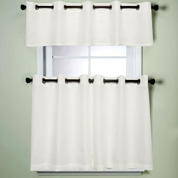 Modern Sublte Textured Solid White Kitchen Curtains With Grommets Tiers And Valance