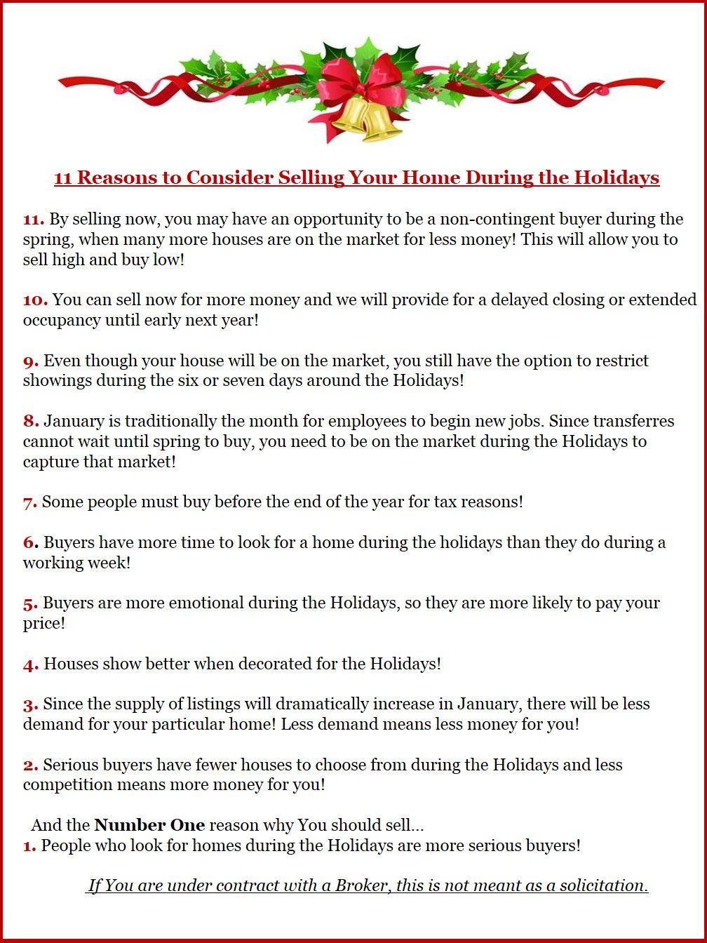 Don't let the holiday season stop you from selling your