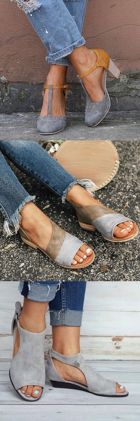 $36.99 Women Vintage Color Block Sandals Casual Chunky Heel Buckle Shoes 1