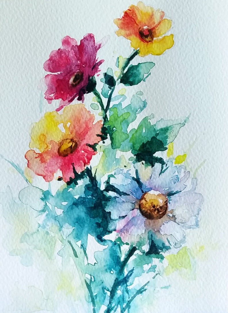 Original Watercolor Flower Painting Rainbow Colored Flower Etsy Watercolor Flowers Paintings Flower Painting Watercolor Flowers